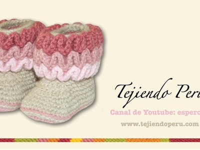 Botas con ondas para bebés tejidas en wiggle crochet (wiggle crochet baby booties): Parte 1