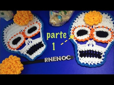 CALAVERA colorida parte 1.3 Ganchillo Crochet, OJO