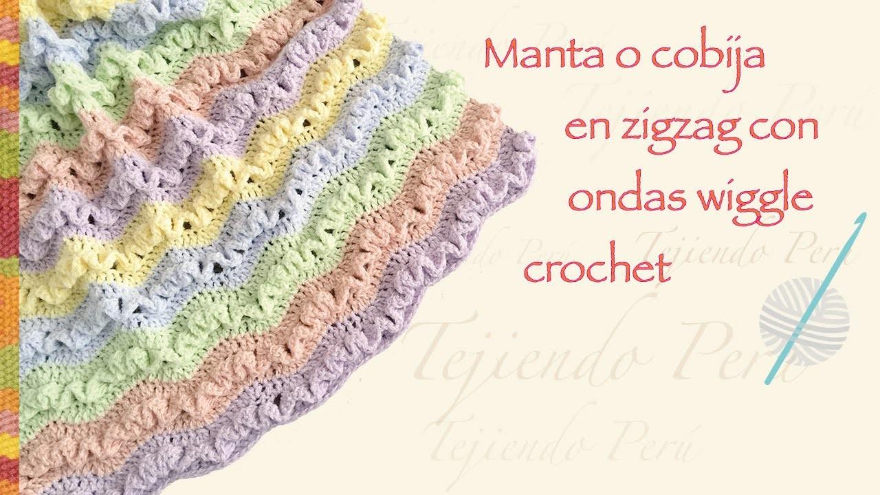 Cobija zig zag con ondas wiggle tejida a crochet en varios tamaños. English subtitles