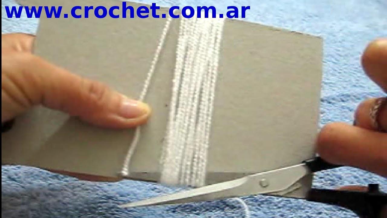 Como cortar flecos para tejido a crochet tutorial paso a paso.