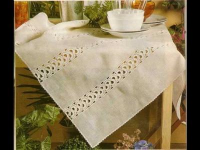 Como Hacer mantel de Lino con entredos a crochet