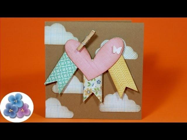 Como hacer Tarjetas de San Valentin Tarjetas de Amor DIY Card Making Scrapbook Pintura Facil