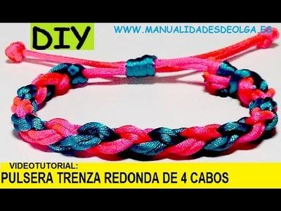 COMO HACER UNA PULSERA TRENZADA REDONDA DE CUATRO CABOS. TRENZA 4 HILOS. TUTORIAL DIY.