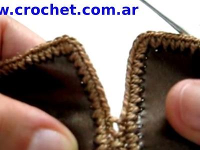 Como unir piezas de cuerina con tejido crochet tutorial paso a paso.