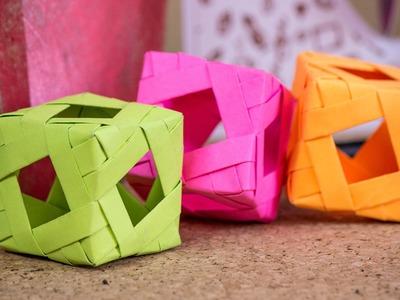 Cubo tejido - Ardono - Lampara - Jugete. Origami modular