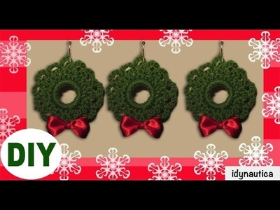 DIY Crochet: Corona de Navidad. Christmas wreath ornaments.