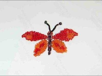 DIY Tutorial de mariposa grande de chaquiras. mostacillas