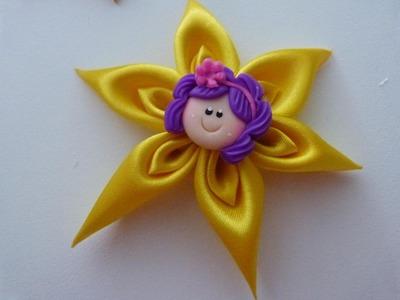 Flores en punta para el cabello paso a paso DIY:tutorial hair flower. Manualidades la Hormiga