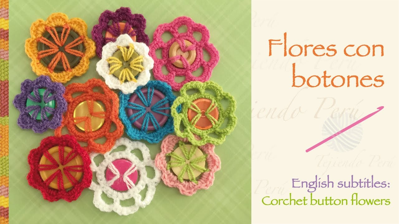 Flores tejidas a crochet con botones (a reciclar!). Crochet button flowers (recycling!)