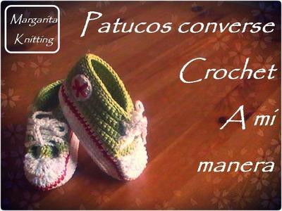 Patucos estilo converse - all star de crochet a mi manera (diestro)