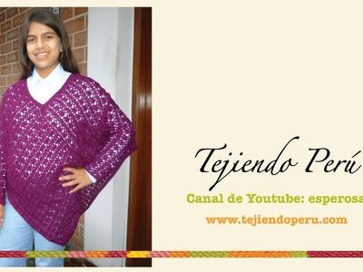 Poncho con mangas tejido a crochet