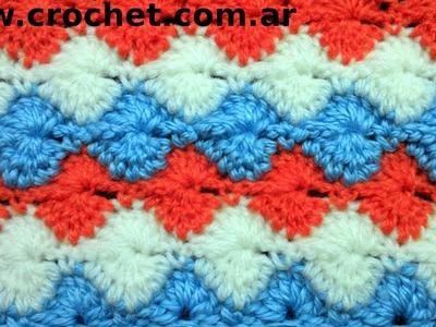 Punto Fantasía N° 30 en tejido crochet tutorial paso a paso.