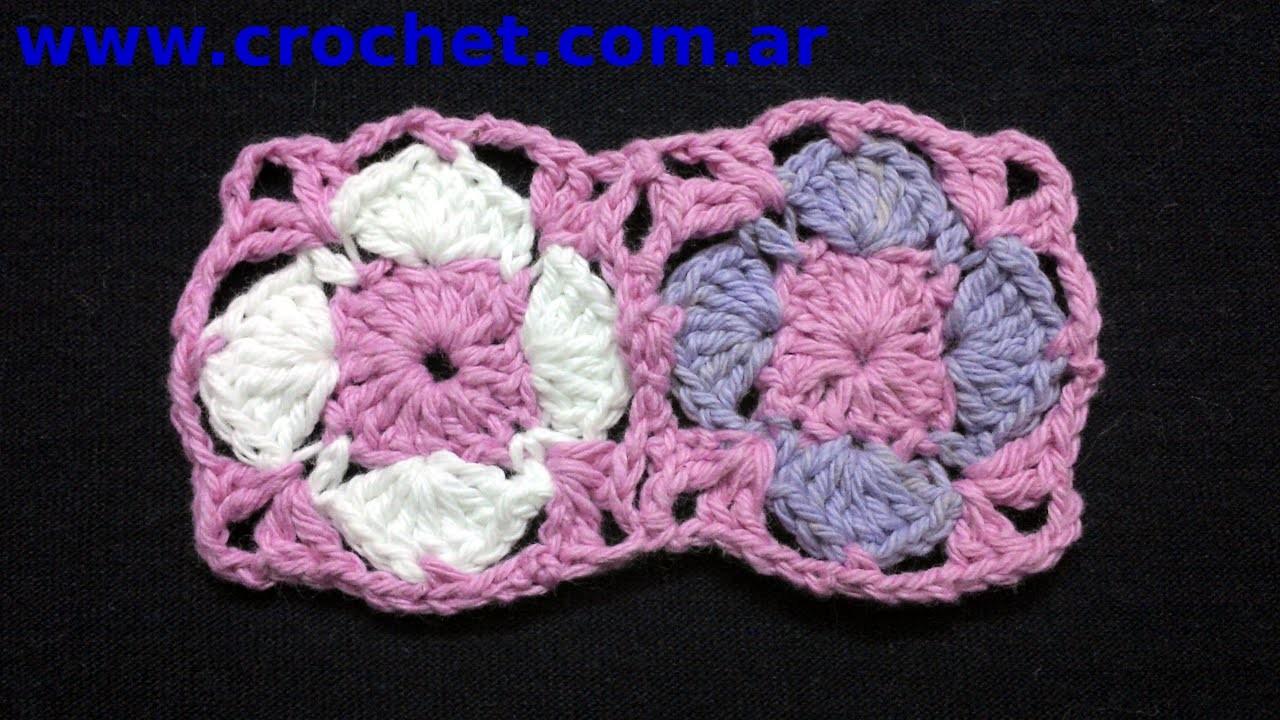 Unión Motivo N°10 granny square en tejido crochet tutorial paso a paso.