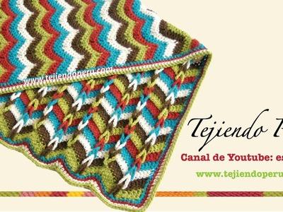 Cobija zigzag con trenzas en 2 direcciones tejida a crochet