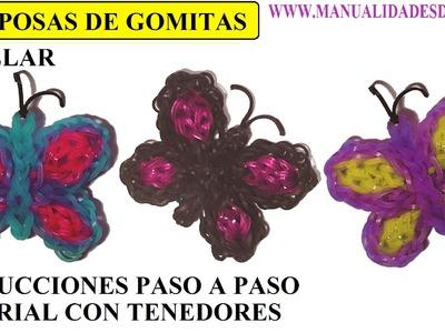 COMO HACER MARIPOSAS DE GOMITAS SIN TELAR, CON TENEDORES, TUTORIAL DIY