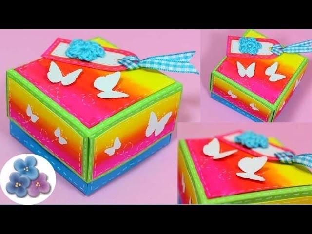 Como Hacer una Caja DIY *How to Boxes* Origami Hacer Cajas Decoradas Scrap Gift Box Pintura Facil