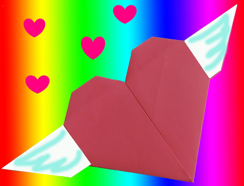 CURSO DE PAPIROFLEXIA gratis 14.Corazon con alas de papel. Tutorial origami heart with wings DIY