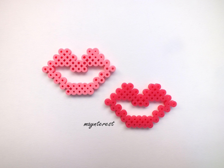 Labios de Hama beads | Lips Perler Beads | San Valentín-Valentine's day