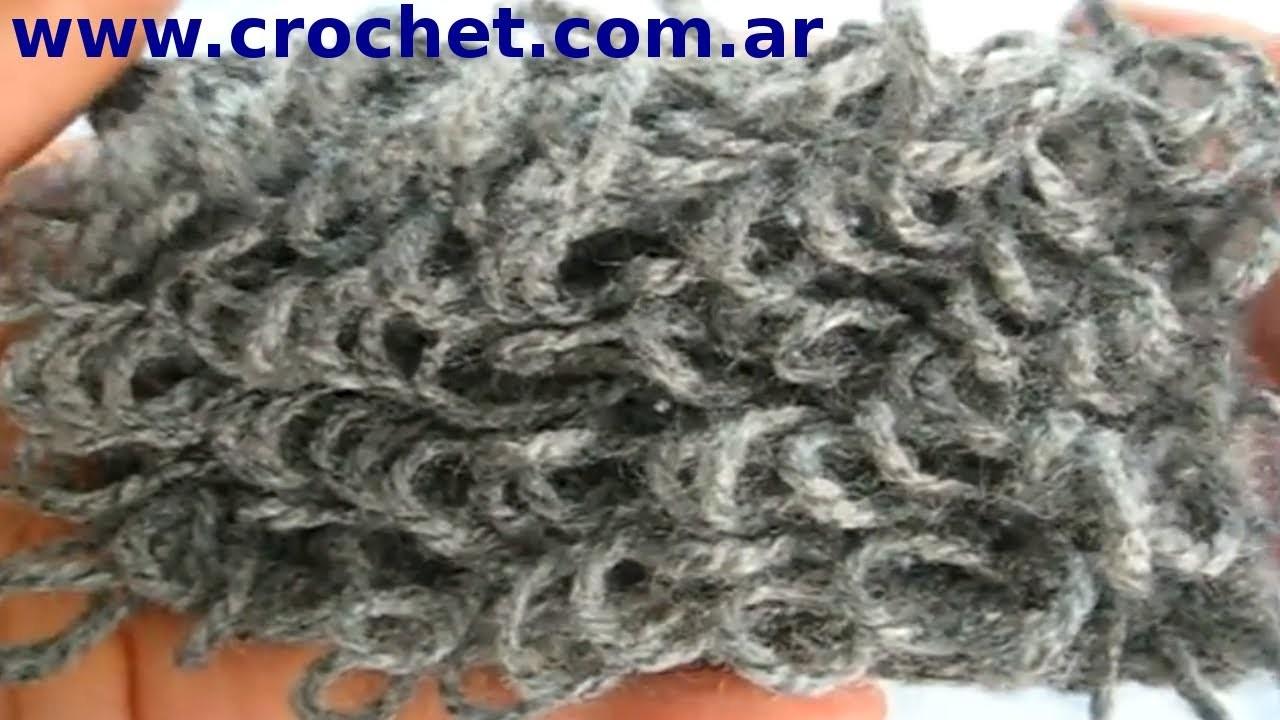 Punto Rulo o Boucle en tejido crochet tutorial paso a paso.