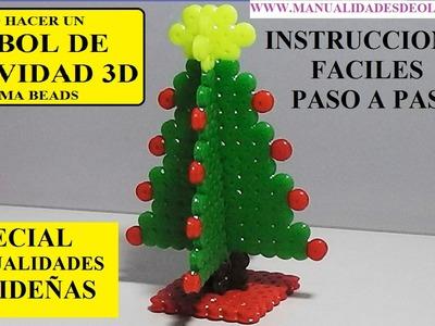 COMO HACER UN ARBOL DE NAVIDAD 3D DE HAMA BEADS O CUENTAS DE PLANCHAR. MANUALIDADES NAVIDEÑAS