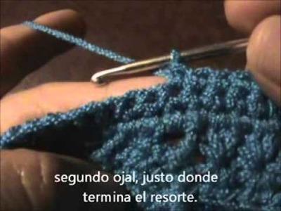 Cómo tejer un suéter para dama a gancho o crochet. Parte 7. (Ojales y cuello).