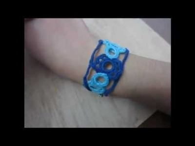 Pulsera de crochet azul