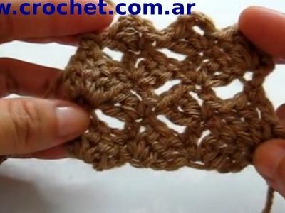 Punto Fantasía N° 35 en tejido crochet tutorial paso a paso.
