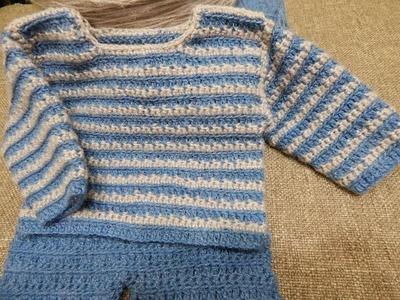 Sueter para Bebe Crochet parte 2 de 2