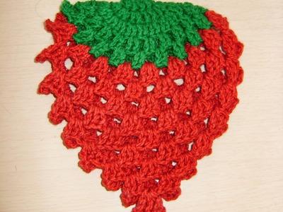 Tutorial de crochet agarradera con forma de Fresa 3 de 3