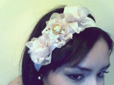 DIY♡ flores de tela* para un collar.diadema muy bonito (facil de hacer)