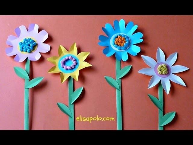 DIY,Manualidades para Primavera, Flores de Cartulina, Paper Flowers
