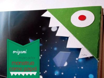 Marcador Origami - Monstruo come papel