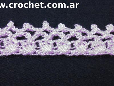 Puntilla N° 27 en tejido crochet tutorial paso a paso.