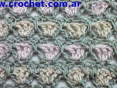 Punto Fantasía N° 15 en tejido crochet tutorial paso a paso.