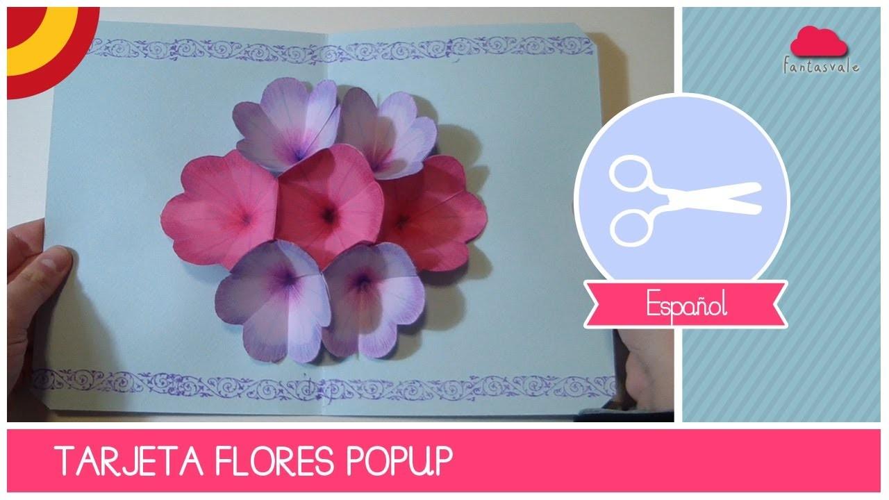 Tarjeta de felicitación DIA DE LAS MADRES con Flores Pop-Up 3D (Manualidad DIY))