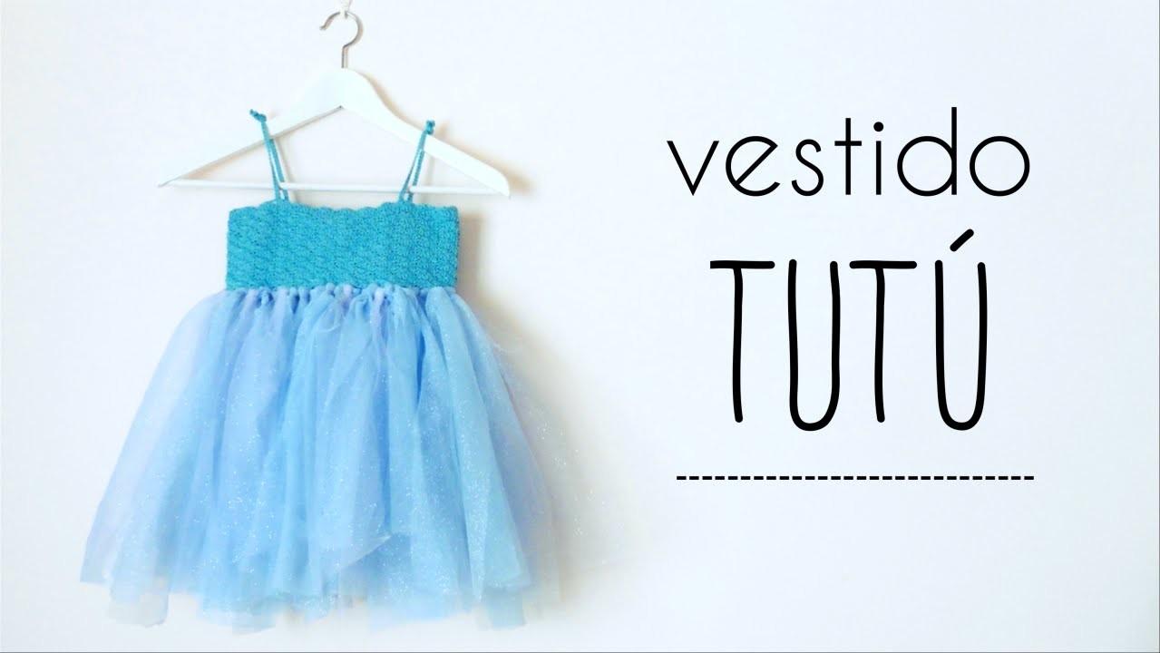 Vestido TUTU (todas las tallas) con canesú de ABANICOS a crochet