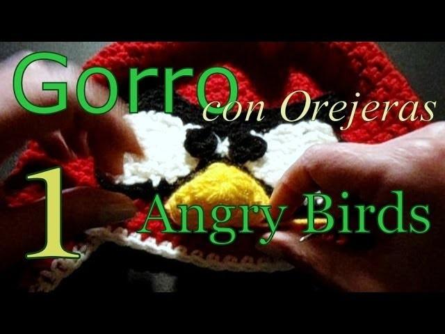 Cómo tejer gorro Angry Birds 1° parte (crochet earflap hat) -tejido para zurdos-