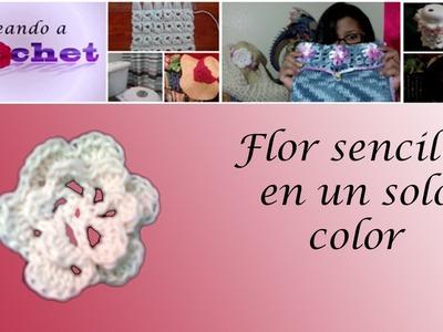Flor sencilla en un solo color -Tutorial de tejido crochet