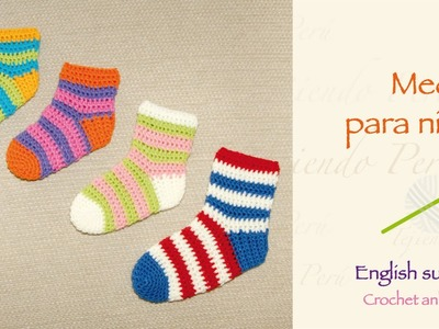 Medias o calcetines tejidas a crochet. English subtitles crochet ankle socks