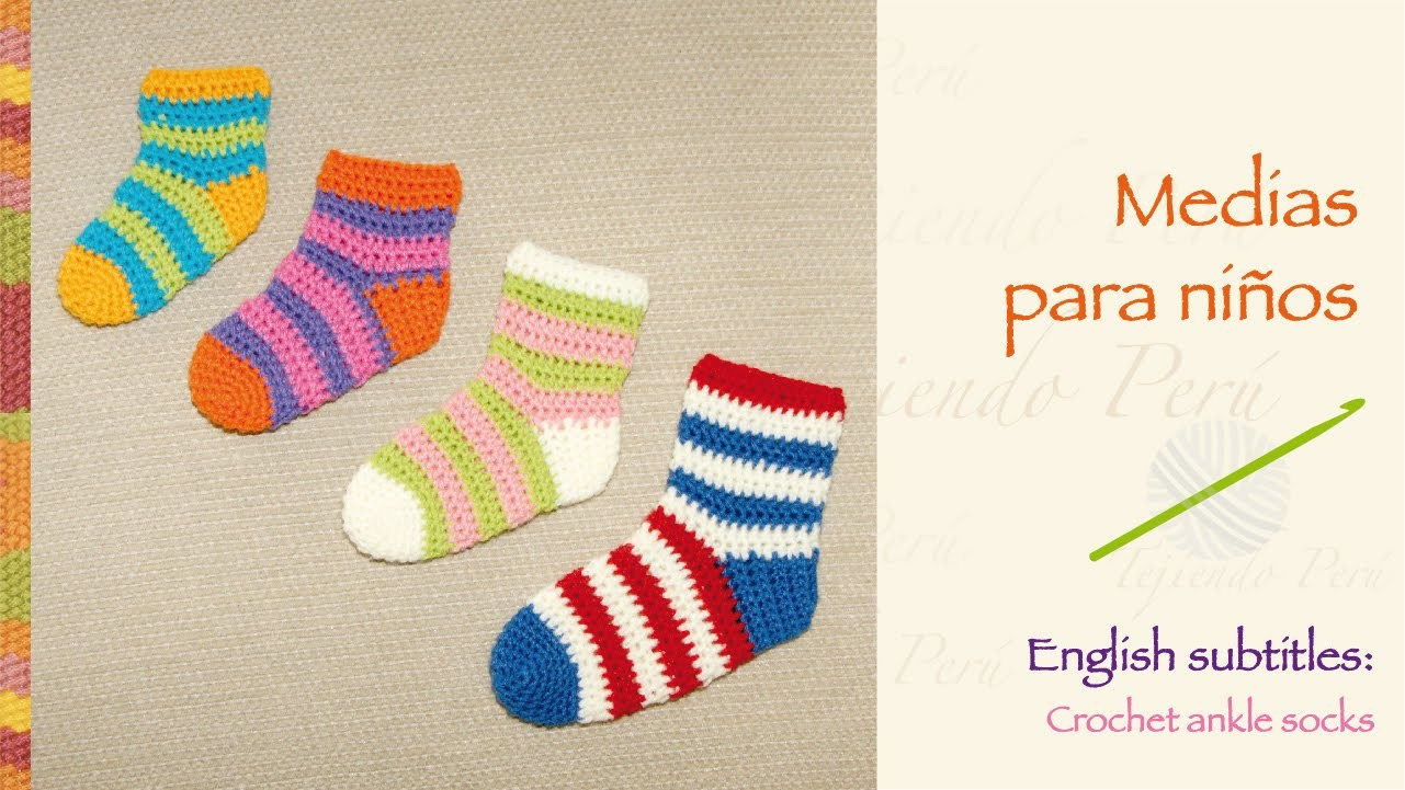 Medias o calcetines tejidas a crochet. English subtitles crochet ankle socks