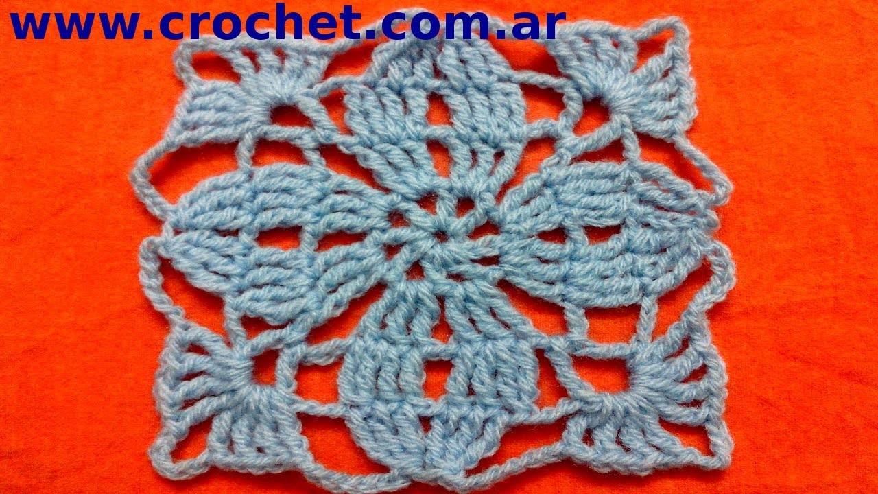 Motivo N° 3 cuadrado granny square en tejido crochet tutorial paso a paso.