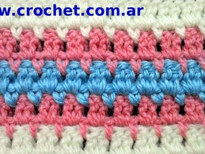 Punto Fantasía N° 13 en tejido crochet tutorial paso a paso.