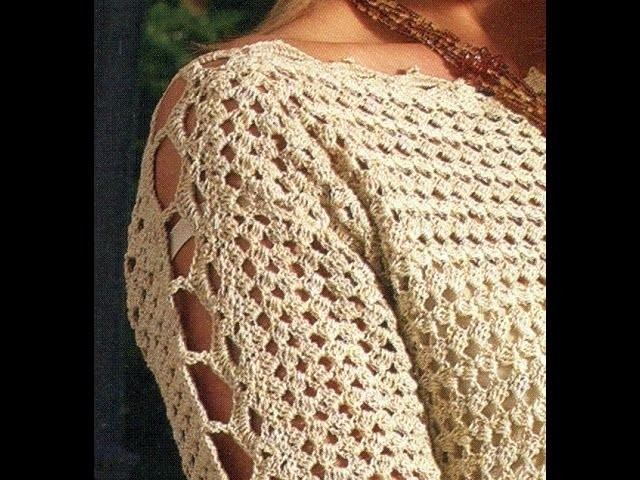 Sabes tejer  ?  Que tal suéter cerrado mangas caladas a crochet