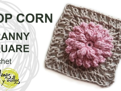 Tutorial Pop Corn Granny Square Crochet o Ganchillo