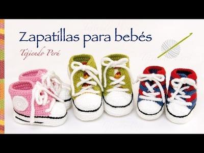 Zapatillas o sneakers para bebés tejidas a crochet.  2 tallas!