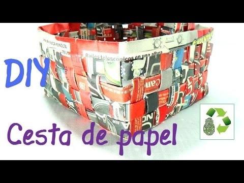 8. DIY CESTA O CAJA (RECICLAJE DE PAPEL PERIODICO)