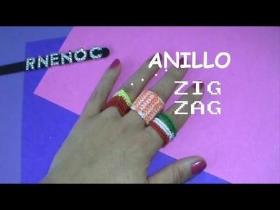 Anillo Tejido puntada Zig Zag Ganchillo Crochet paso a paso