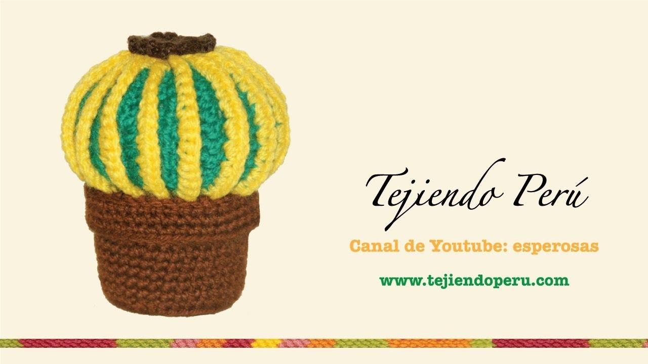 Cactus redondo tejido en crochet (amigurumi)