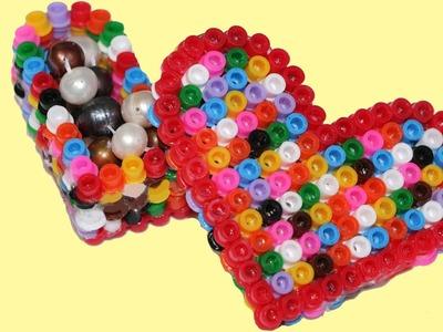 Cómo hacer caja de Hama o perler beads. Hama heart box