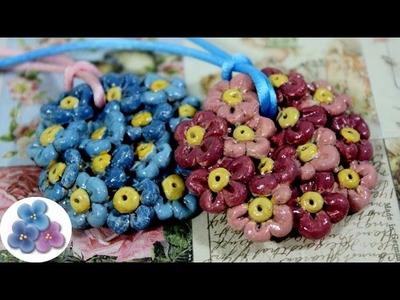 Como Hacer Colgante de Porcelana con Flores Tutorial DIY Accesorios Pintura Facil